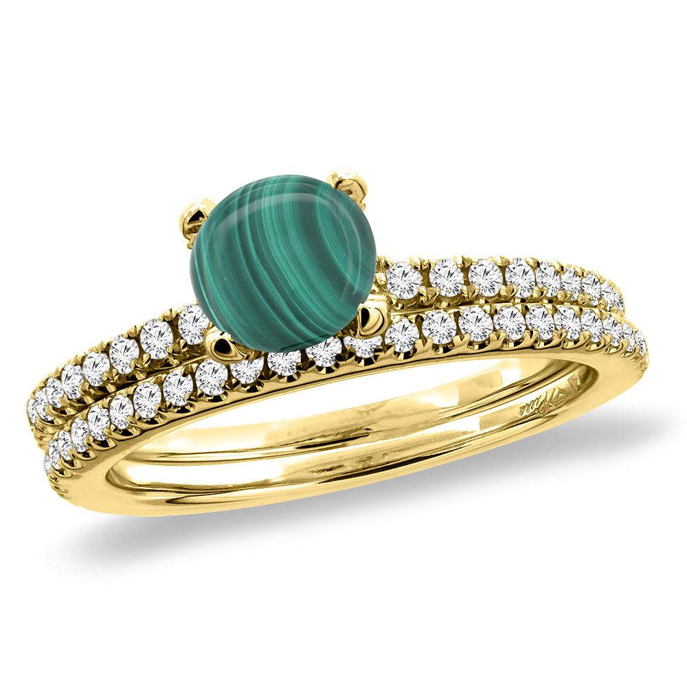 14K Yellow Gold Diamond Natural Malachite 2pc Engagement Ring Set Round 5 mm, sizes 5-10