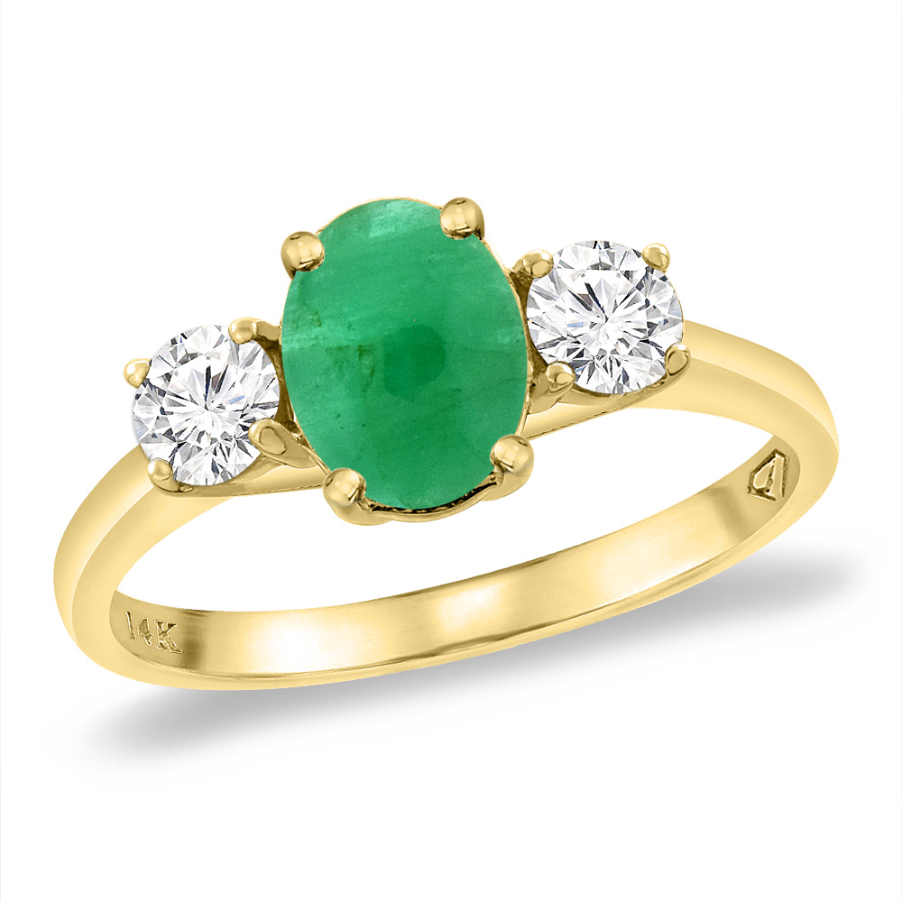 14K Yellow Gold Natural Cabochon Emerald & 2pc. Diamond Engagement Ring Oval 8x6 mm, sizes 5 -10
