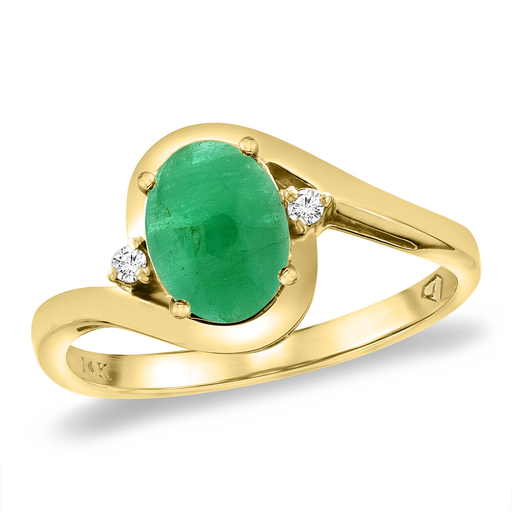 14K Yellow Gold Diamond Natural Cabochon Emerald Bypass Engagement Ring Oval 8x6 mm, sizes 5 -10