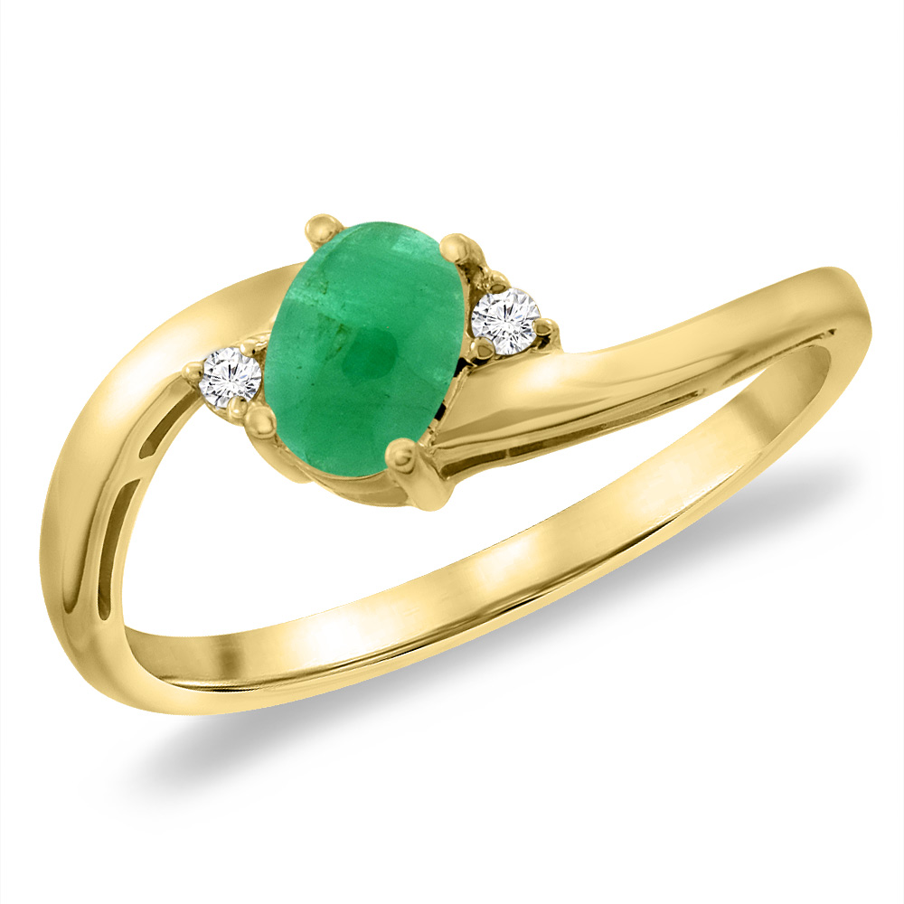 14K Yellow Gold Diamond Natural Cabochon Emerald Bypass Engagement Ring Oval 6x4 mm, sizes 5 -10