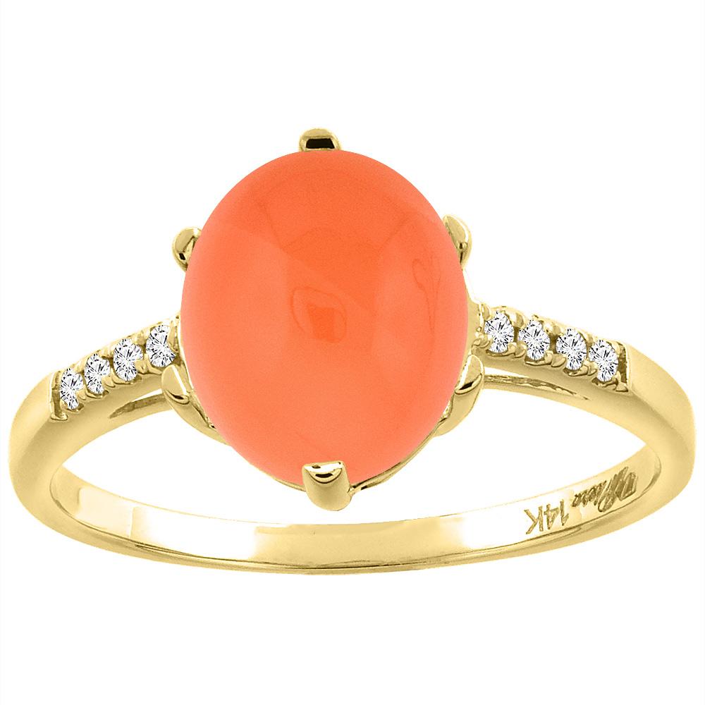 14K Yellow Gold Natural Orange Moonstone & Diamond Ring Oval 10x8 mm, sizes 5-10