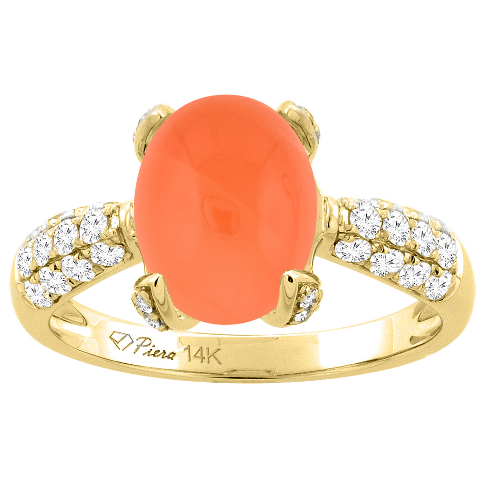 14K Yellow Gold Natural Orange Moonstone Engagement Ring Oval 10x8 mm & Diamond Accents, sizes 5 - 10