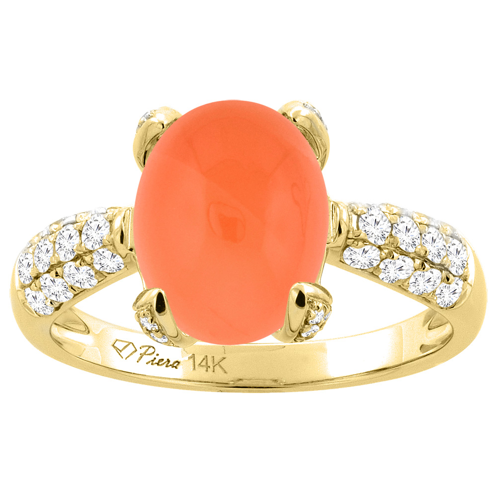 14K Yellow Gold Natural Orange Moonstone Engagement Ring Oval 11x9 mm & Diamond Accents, sizes 5 - 10