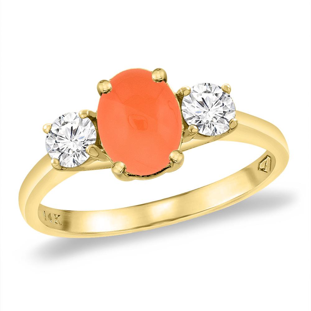 14K Yellow Gold Natural Orange Moonstone & 2pc. Diamond Engagement Ring Oval 8x6 mm, sizes 5 -10