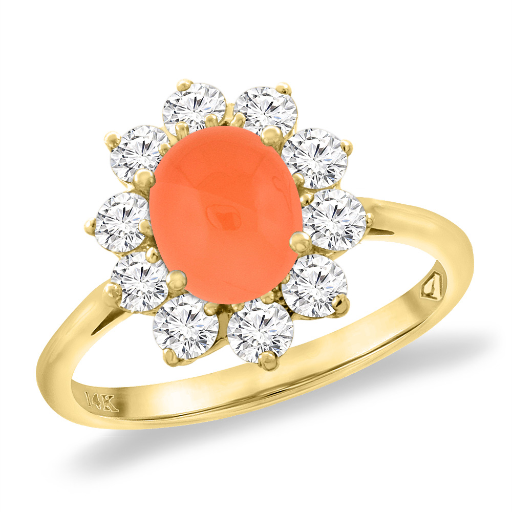 14K Yellow Gold Diamond Natural Orange Moonstone Engagement Ring Oval 8x6 mm, sizes 5 -10