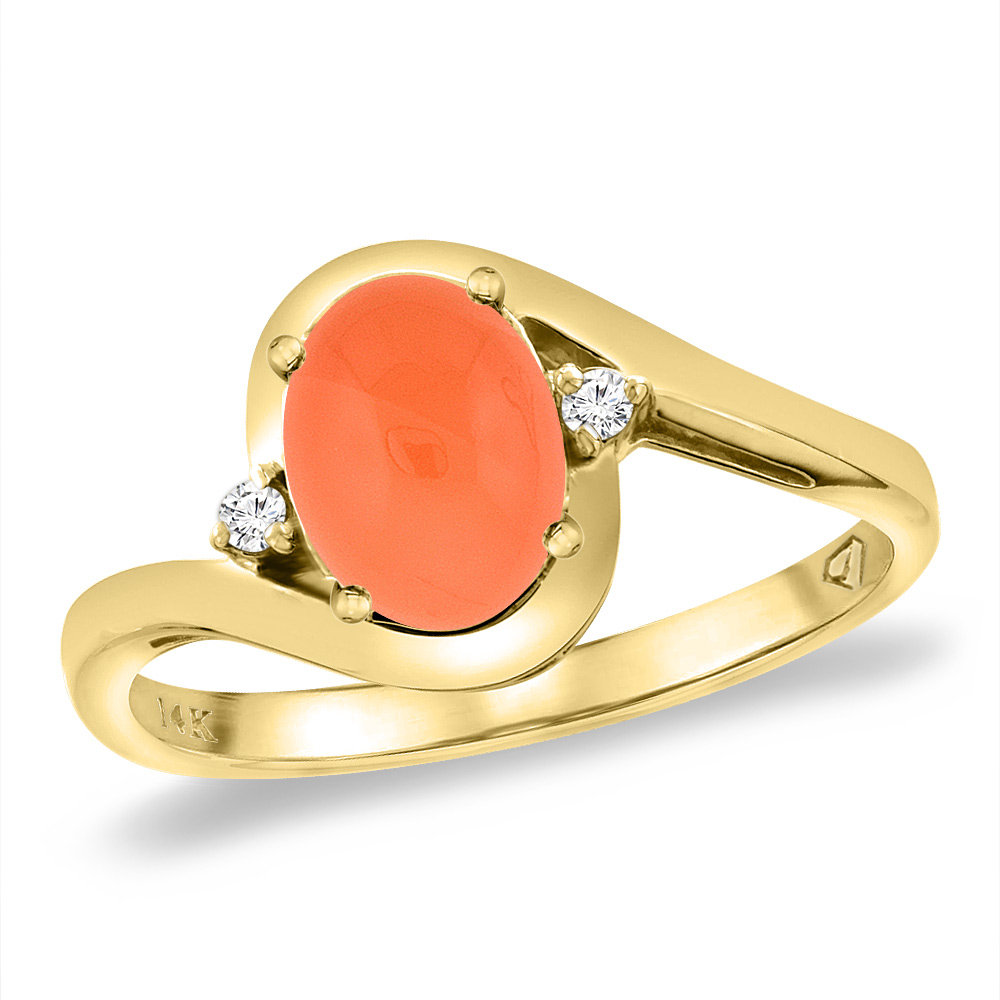 14K Yellow Gold Diamond Natural Orange Moonstone Bypass Engagement Ring Oval 8x6 mm, sizes 5 -10