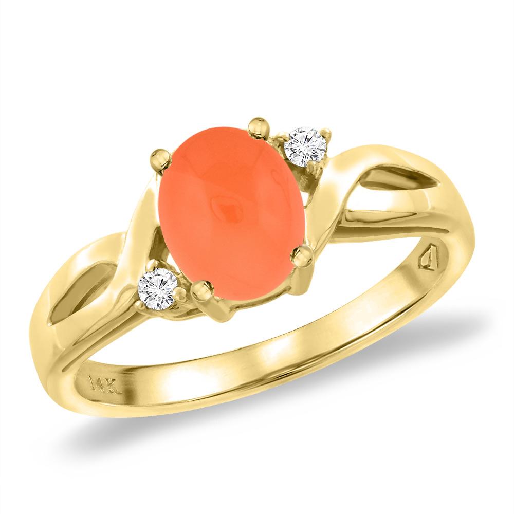 14K Yellow Gold Diamond Natural Orange Moonstone Engagement Ring Oval 8x6 mm, sizes 5 -10