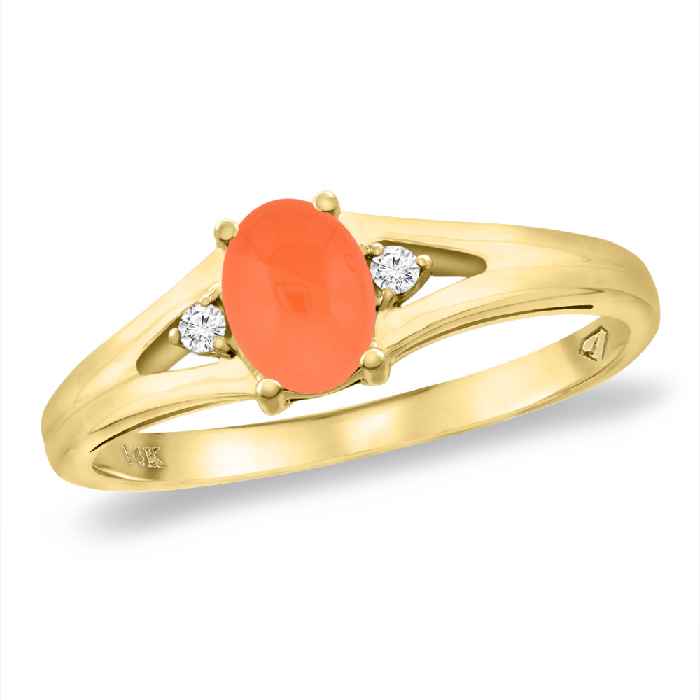 14K Yellow Gold Diamond Natural Orange Moonstone Engagement Ring Oval 6x4 mm, sizes 5 -10
