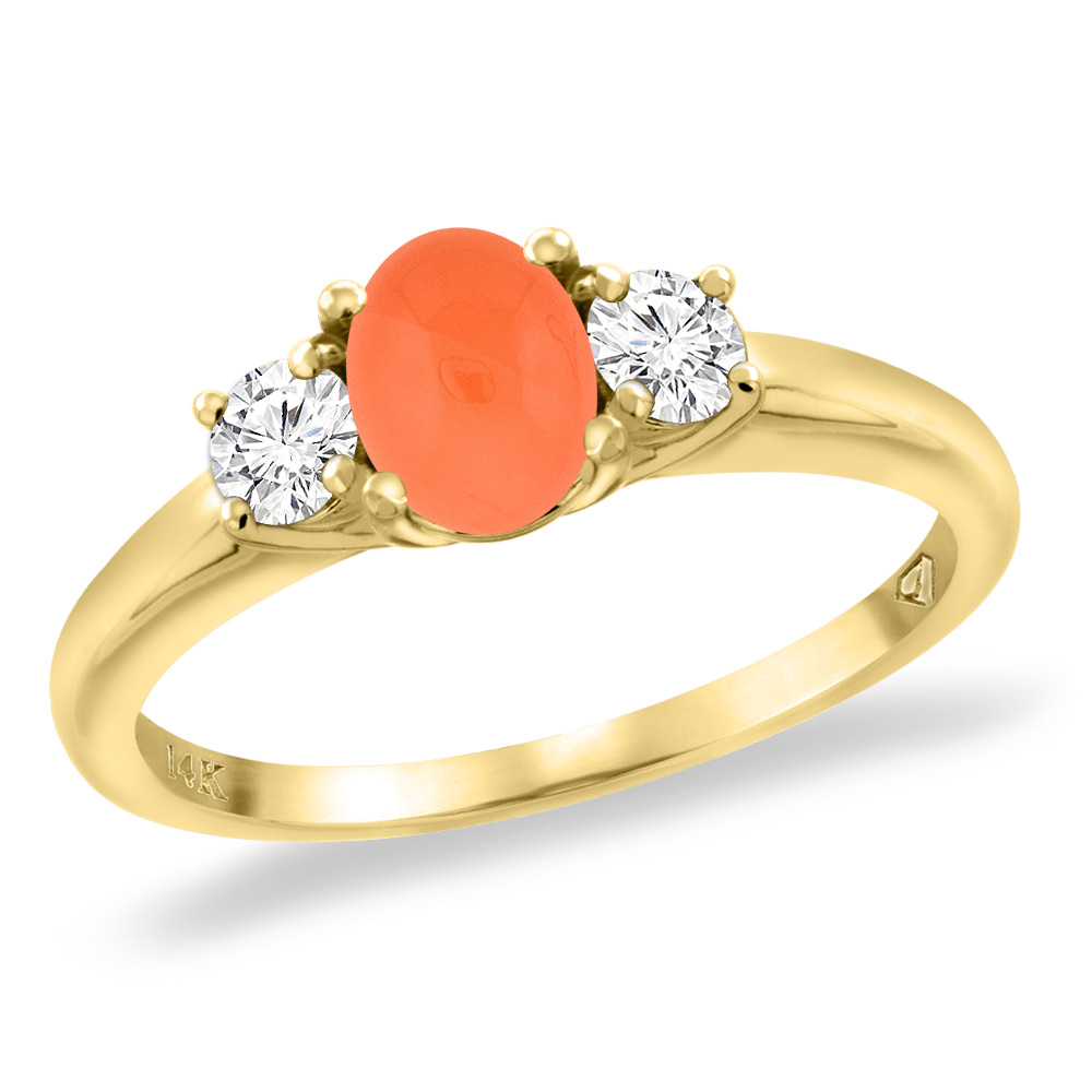 14K Yellow Gold Natural Orange Moonstone Engagement Ring Diamond Accents Oval 7x5 mm, sizes 5 -10