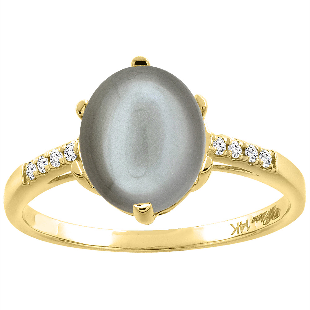14K Yellow Gold Natural Gray Moonstone & Diamond Ring Oval 10x8 mm, sizes 5-10
