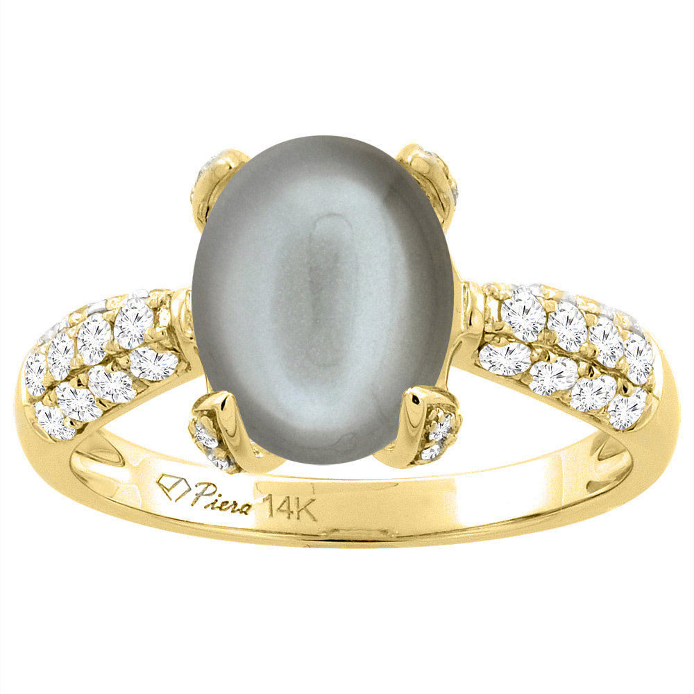 14K Yellow Gold Natural Gray Moonstone Engagement Ring Oval 10x8 mm & Diamond Accents, sizes 5 - 10