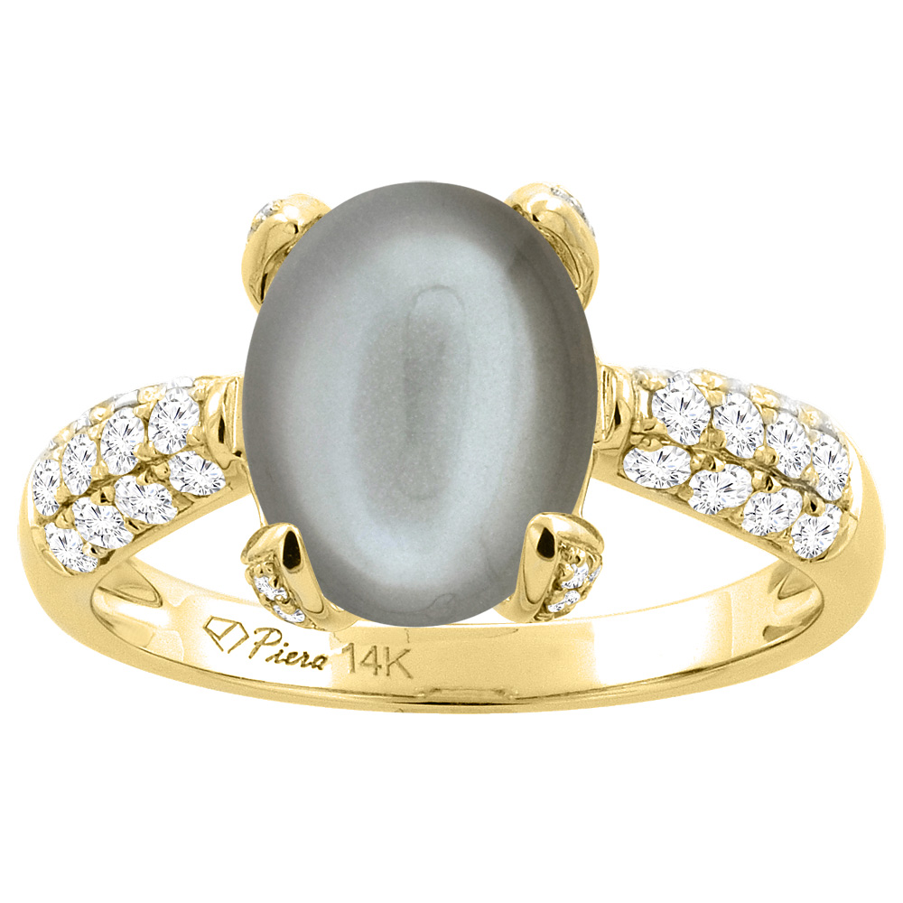14K Yellow Gold Natural Gray Moonstone Engagement Ring Oval 11x9 mm & Diamond Accents, sizes 5 - 10