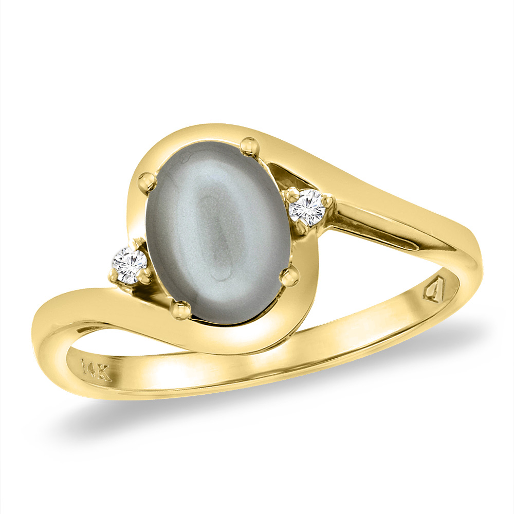 14K Yellow Gold Diamond Natural Gray Moonstone Bypass Engagement Ring Oval 8x6 mm, sizes 5 -10