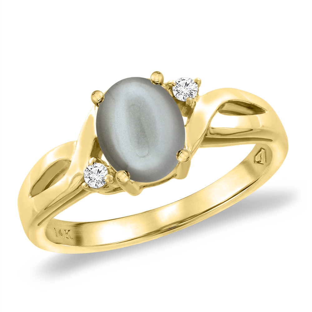 14K Yellow Gold Diamond Natural Gray Moonstone Engagement Ring Oval 8x6 mm, sizes 5 -10