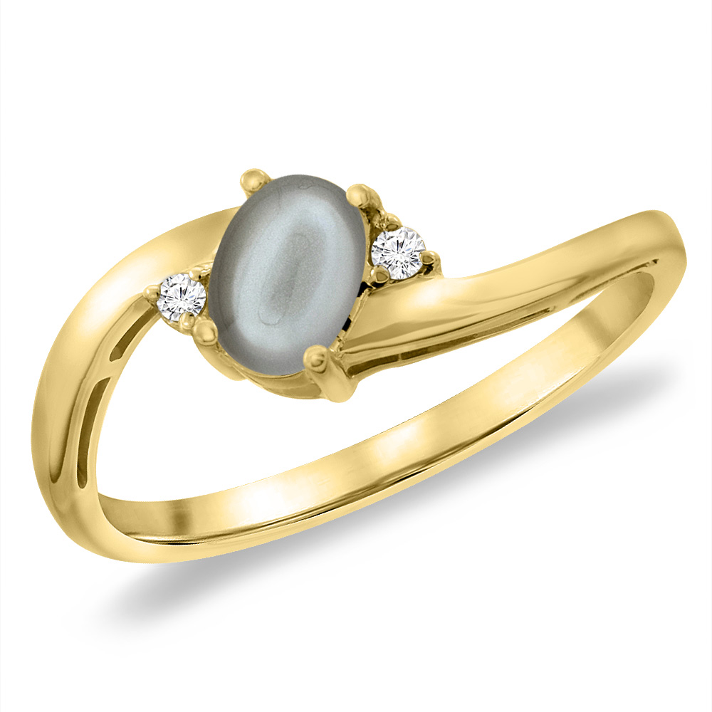 14K Yellow Gold Diamond Natural Gray Moonstone Bypass Engagement Ring Oval 6x4 mm, sizes 5 -10