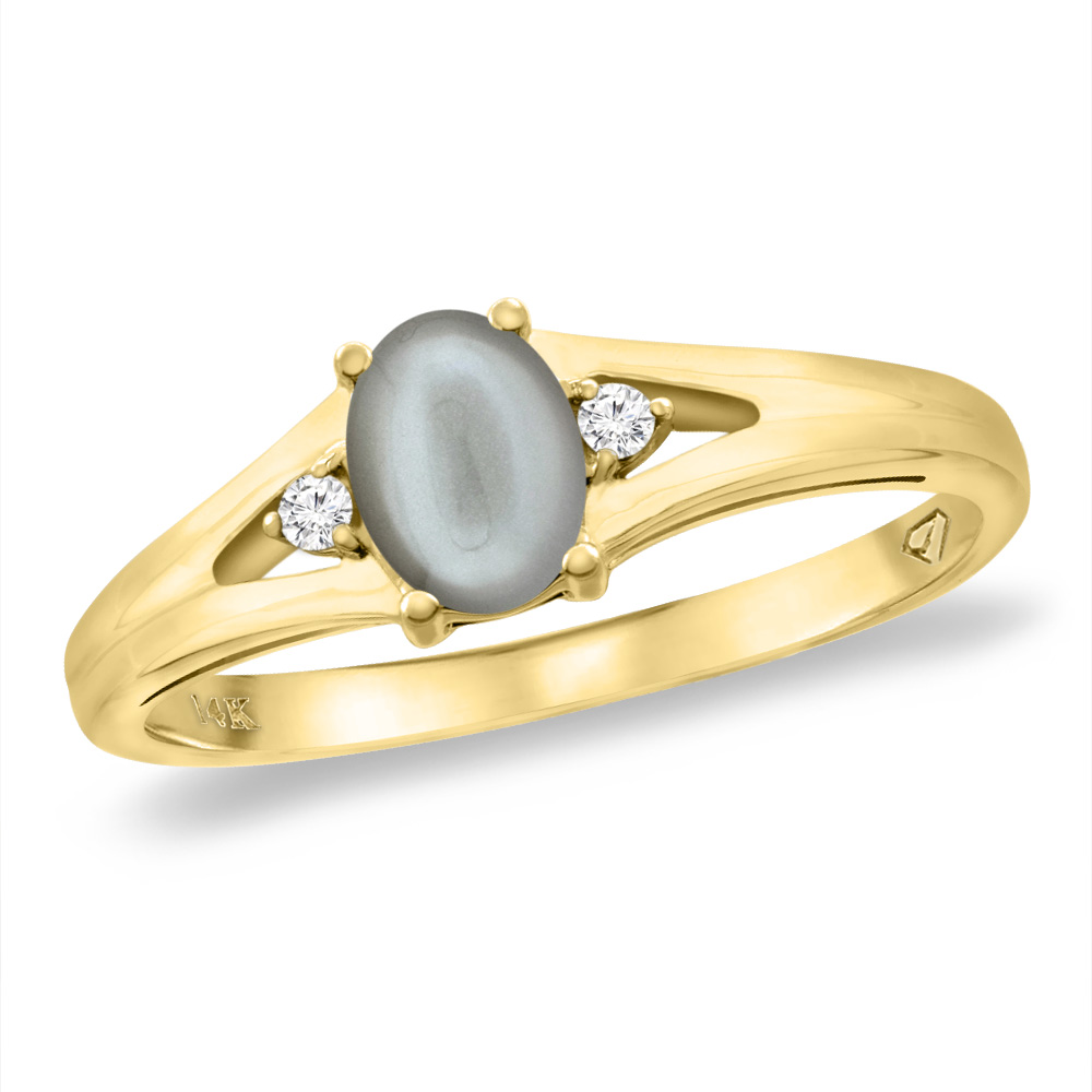 14K Yellow Gold Diamond Natural Gray Moonstone Engagement Ring Oval 6x4 mm, sizes 5 -10