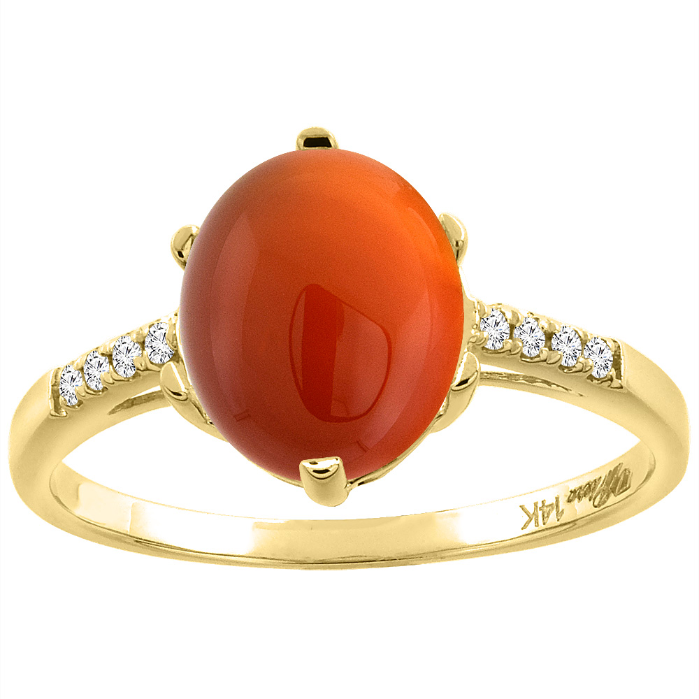 14K Yellow Gold Natural Brown Agate & Diamond Ring Oval 10x8 mm, sizes 5-10