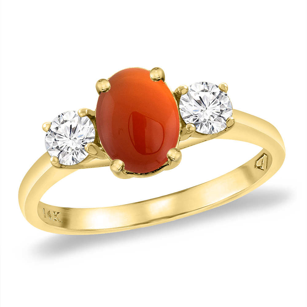 14K Yellow Gold Natural Brown Agate & 2pc. Diamond Engagement Ring Oval 8x6 mm, sizes 5 -10