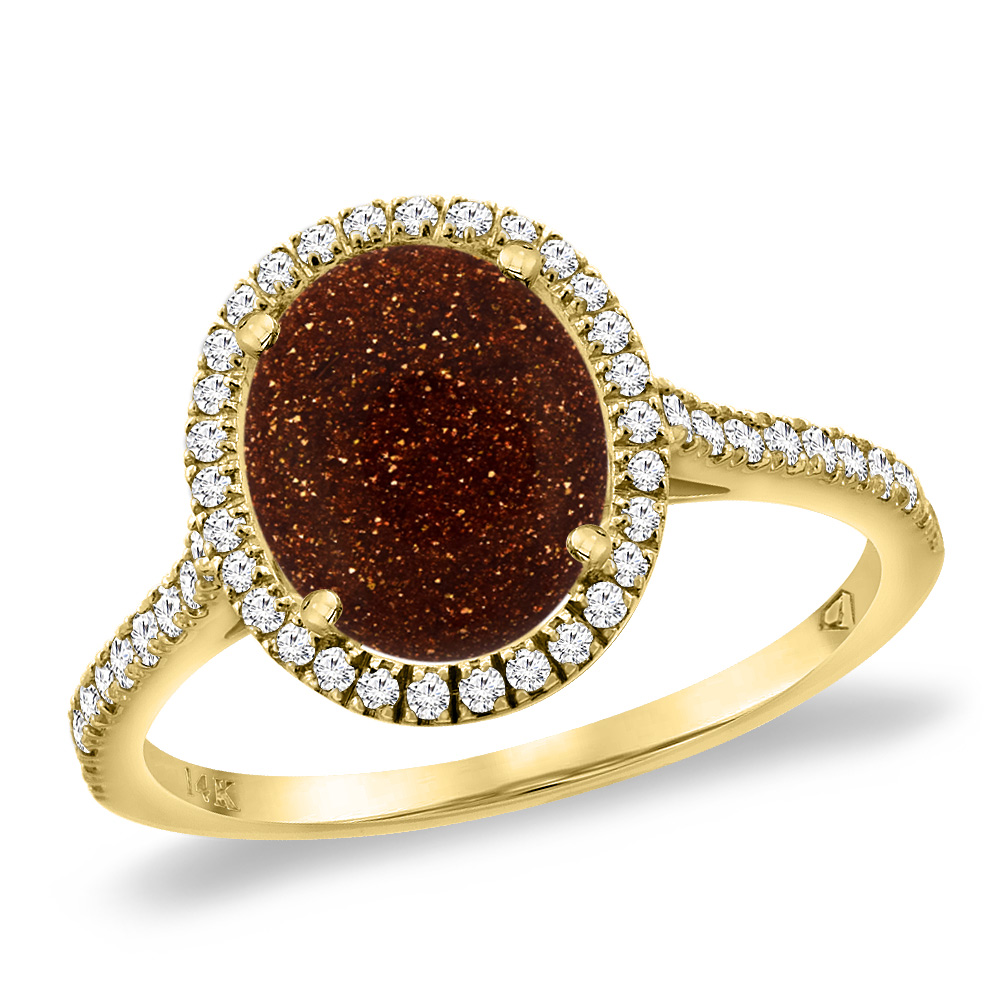 14K Yellow Gold Goldstone Diamond Halo Engagement Ring 10x8 mm Oval, sizes 5 -10