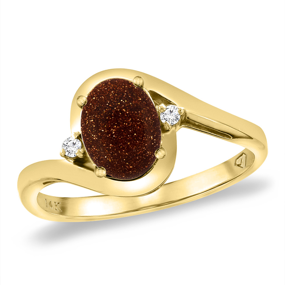 14K Yellow Gold Diamond Natural Goldstone Bypass Engagement Ring Oval 8x6 mm, sizes 5 -10
