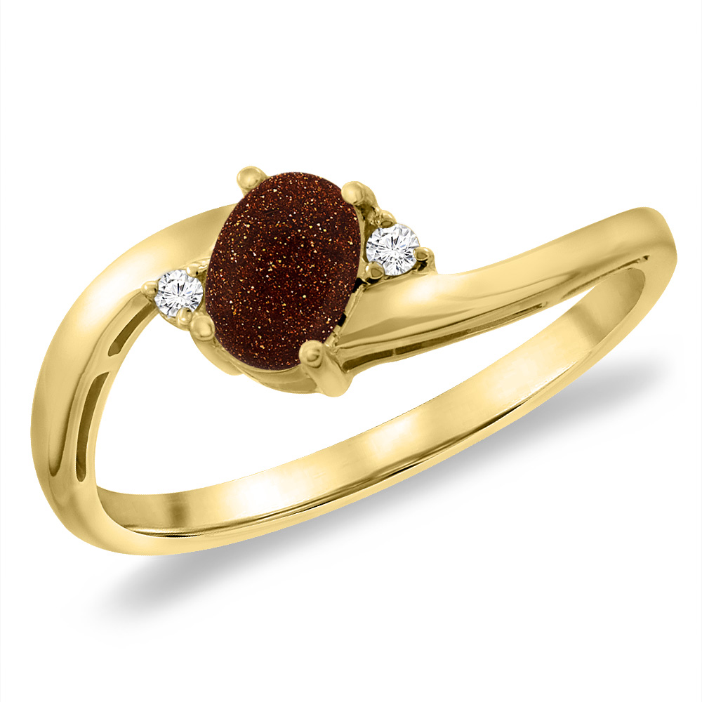 14K Yellow Gold Diamond Natural Goldstone Bypass Engagement Ring Oval 6x4 mm, sizes 5 -10