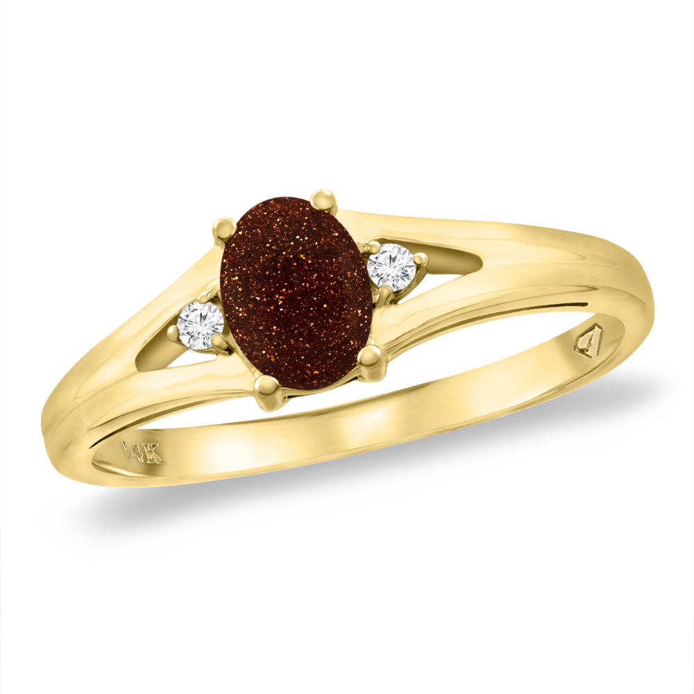 14K Yellow Gold Diamond Natural Goldstone Engagement Ring Oval 6x4 mm, sizes 5 -10