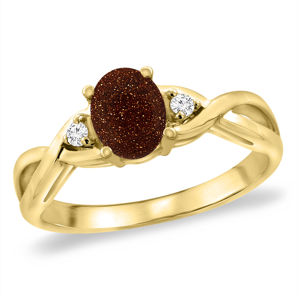 14K Yellow Gold Diamond Natural Goldstone Infinity Engagement Ring Oval 7x5 mm, sizes 5 -10