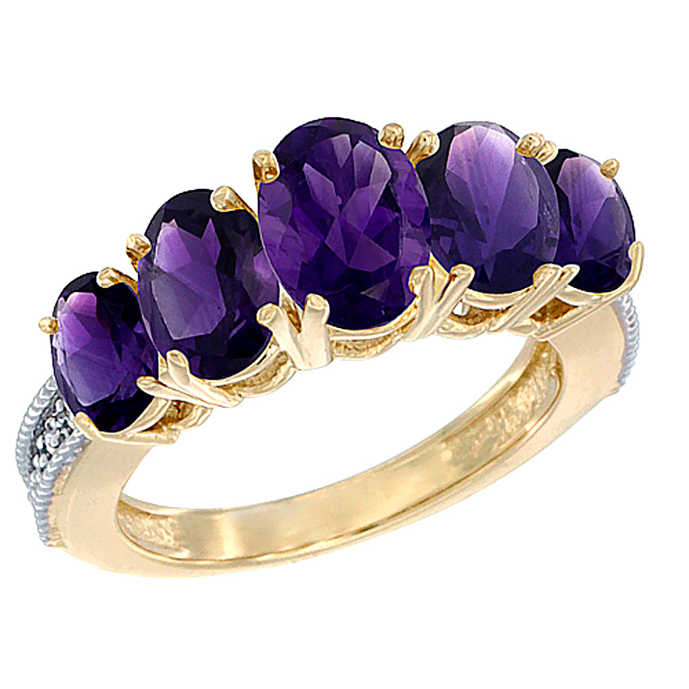 10K Yellow Gold Diamond Natural Amethyst Ring 5-stone Oval 8x6 Ctr,7x5,6x4 sides, sizes 5 - 10