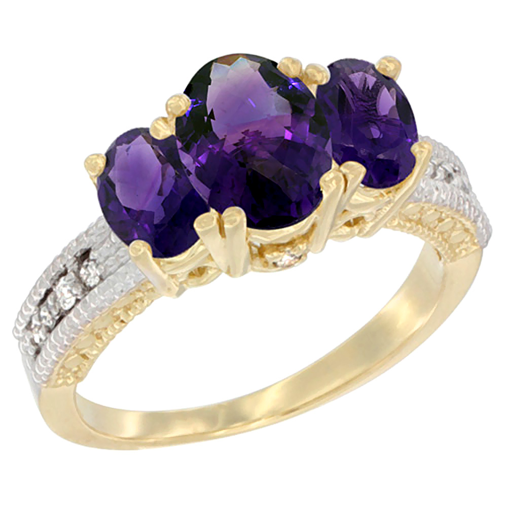 10K Yellow Gold Ladies Oval Natural Amethyst Ring 3-stone Diamond Accent