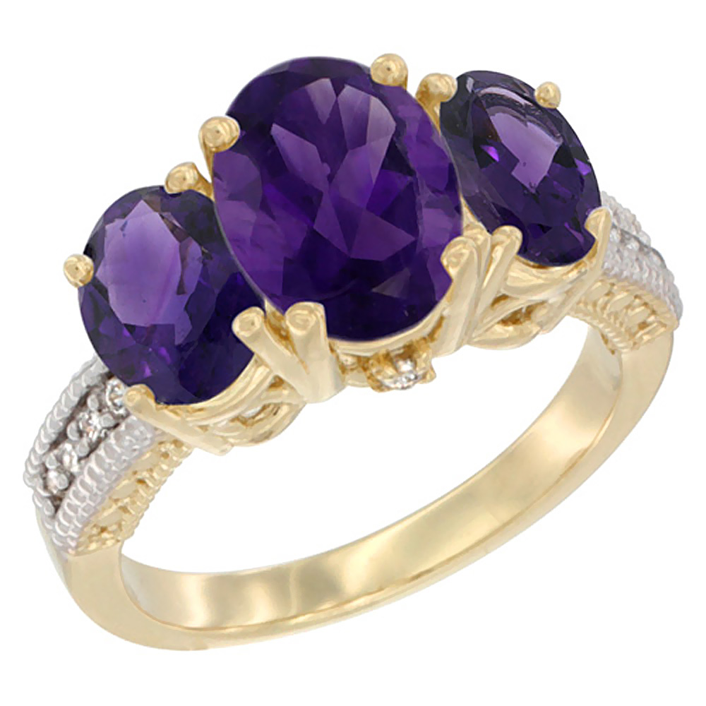 10K Yellow Gold Natural Amethyst Ring Ladies 3-Stone Oval 8x6mm Diamond Accent, sizes 5 - 10