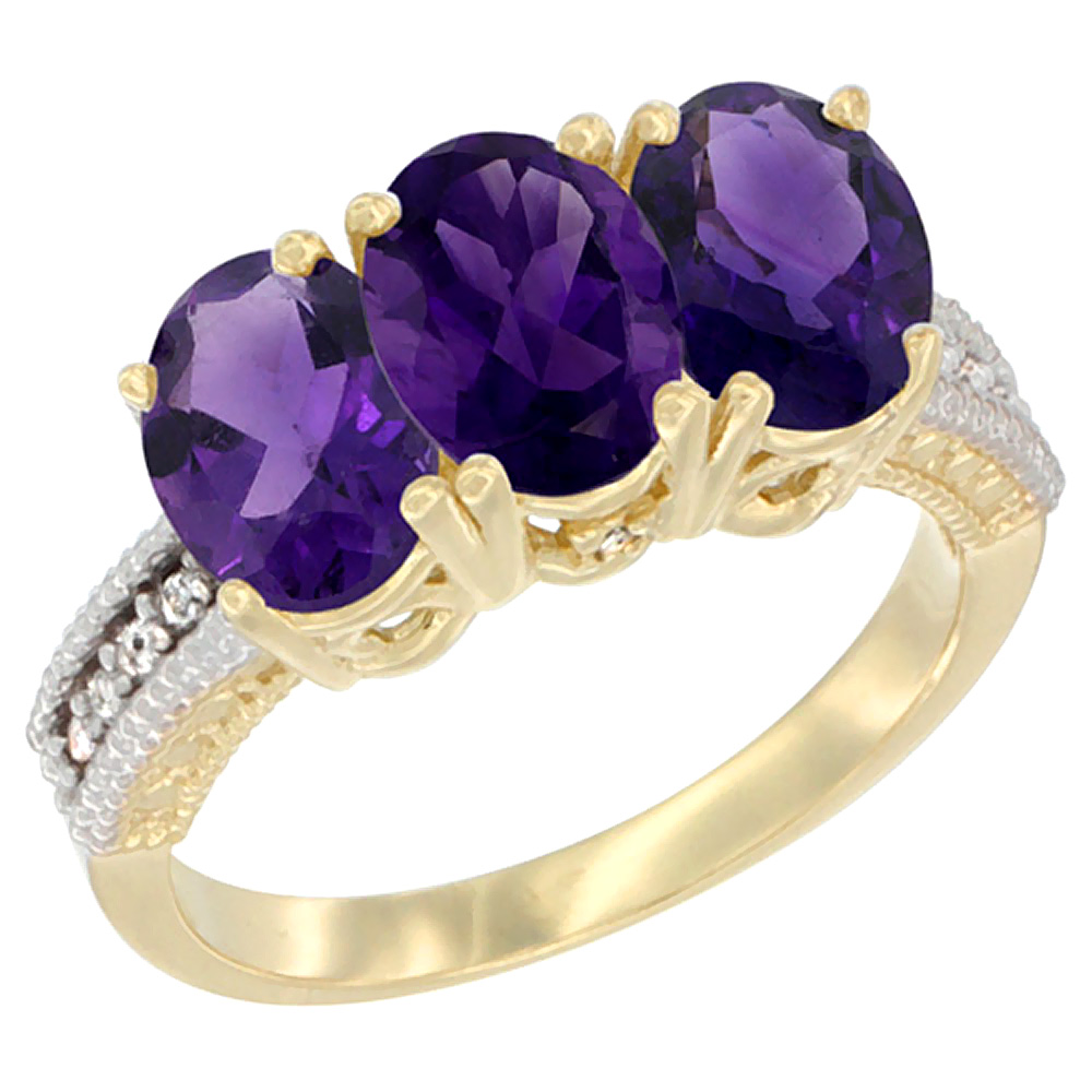10K Yellow Gold Diamond Natural Amethyst Ring Oval 3-Stone 7x5 mm,sizes 5-10
