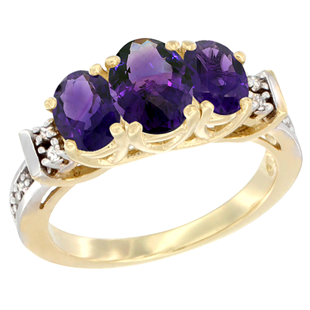 14K Yellow Gold Natural Amethyst Ring 3-Stone Oval Diamond Accent