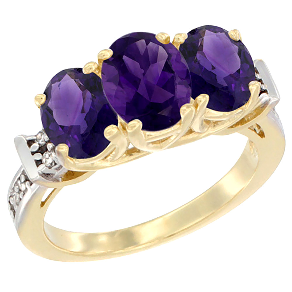 10K Yellow Gold Natural Amethyst Ring 3-Stone Oval Diamond Accent, sizes 5 - 10