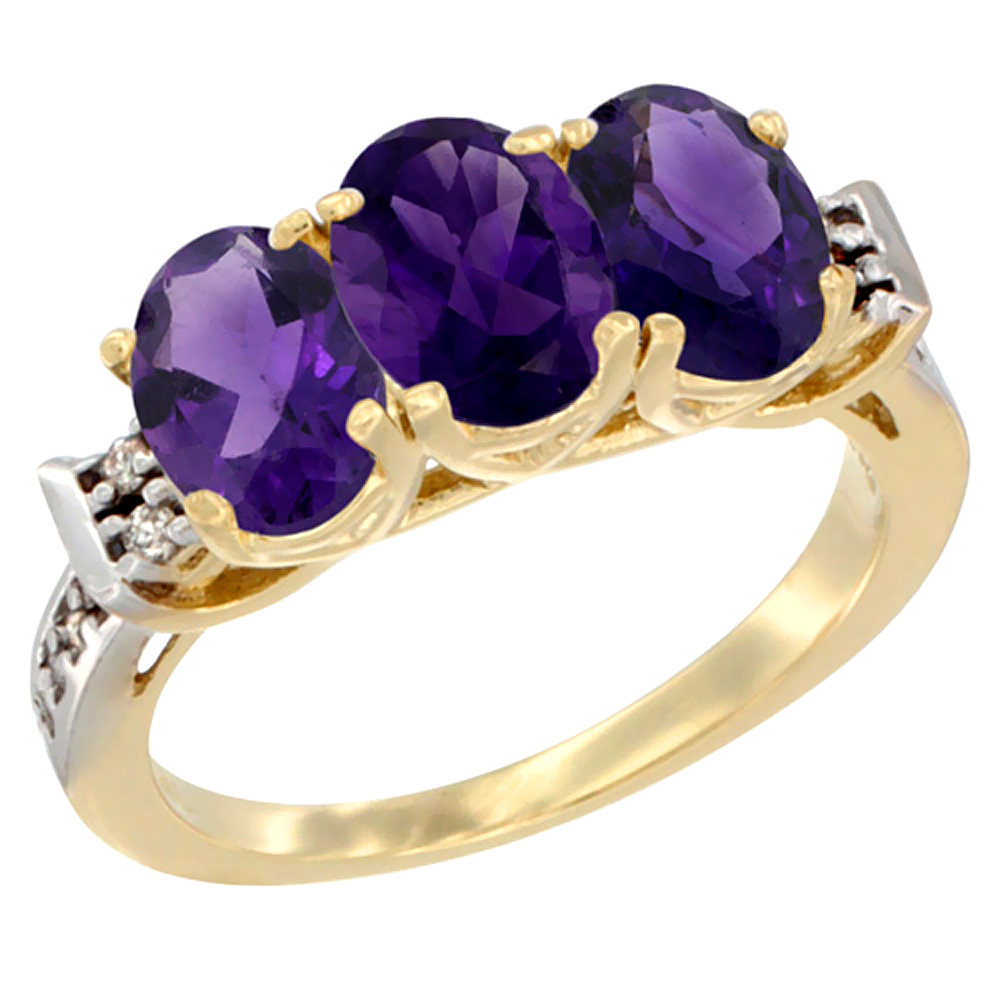 14K Yellow Gold Natural Amethyst Ring 3-Stone 7x5 mm Oval Diamond Accent, sizes 5 - 10