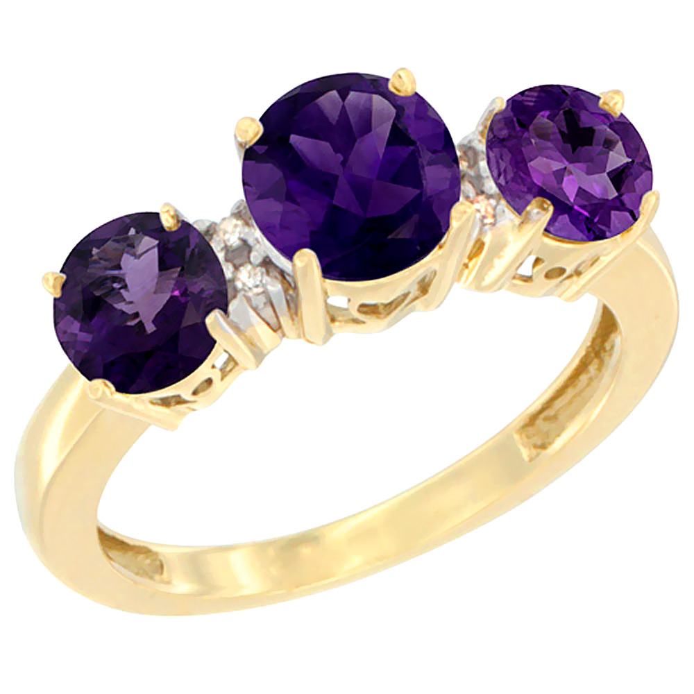 14K Yellow Gold Round 3-Stone Natural Amethyst Ring Diamond Accent, sizes 5 - 10