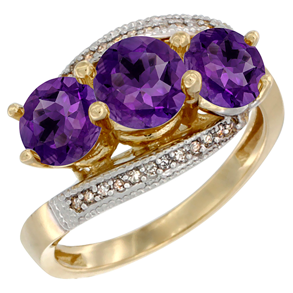 10K Yellow Gold Natural Amethyst 3 stone Ring Round 6mm Diamond Accent, sizes 5 - 10