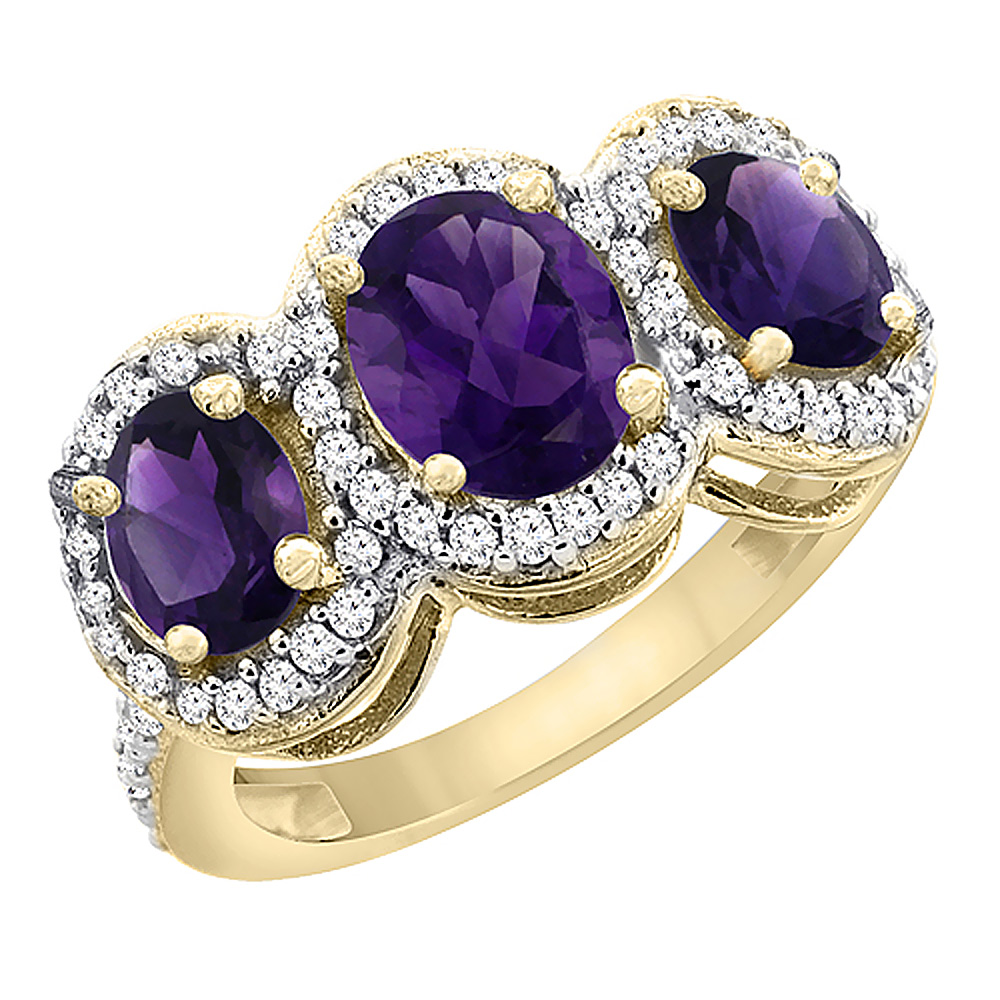 14K Yellow Gold Natural Amethyst 3-Stone Ring Oval Diamond Accent, sizes 5 - 10