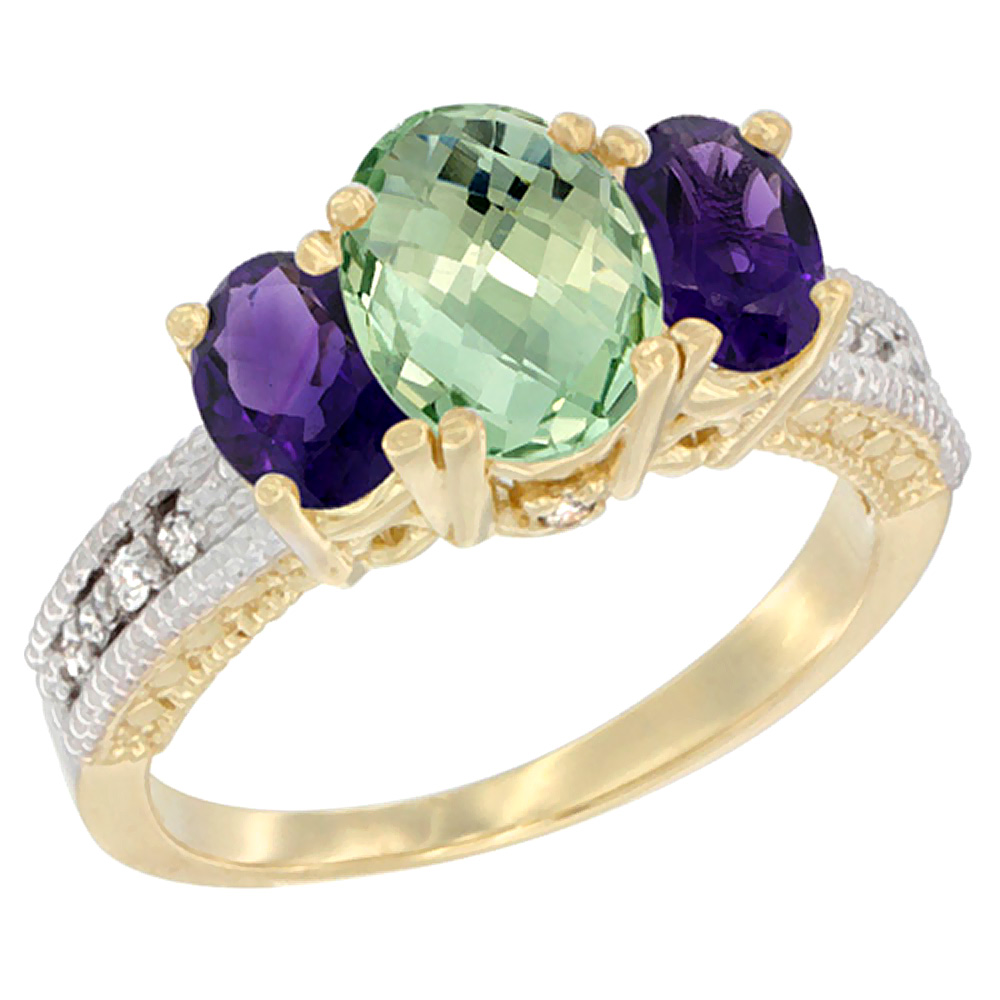 10K Yellow Gold Ladies Oval Natural Green Amethyst Ring 3-stone with Amethyst Sides Diamond Accent