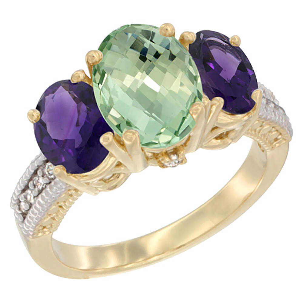 10K Yellow Gold Natural Green Amethyst Ring Ladies 3-Stone Oval 8x6mm with Amethyst Sides Diamond Accent, sizes 5 - 10
