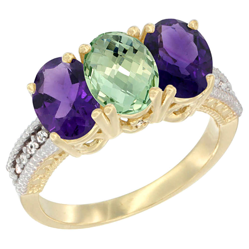 14K Yellow Gold Natural Purple & Green Amethysts Ring 3-Stone 7x5 mm Oval Diamond Accent, sizes 5 - 10