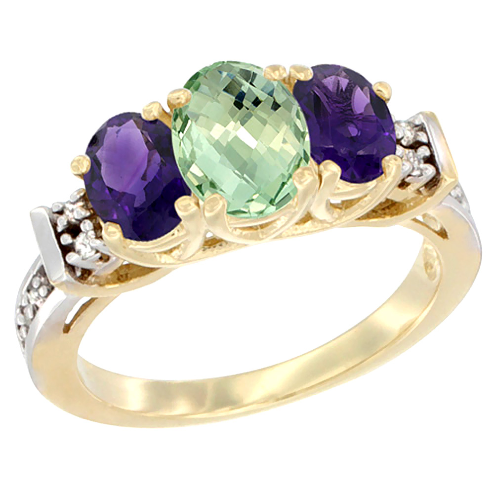 14K Yellow Gold Natural Purple & Green Amethysts Ring 3-Stone Oval Diamond Accent