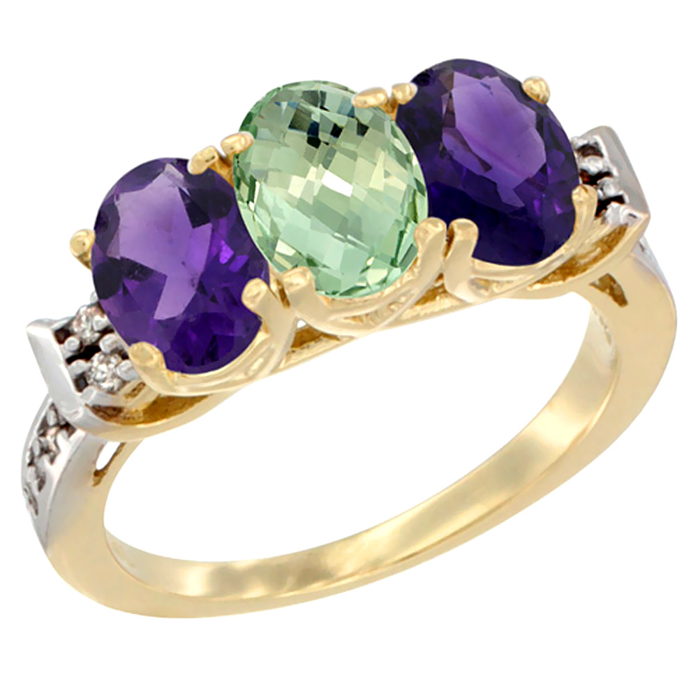 10K Yellow Gold Natural Purple & Green Amethysts Ring 3-Stone Oval 7x5 mm Diamond Accent, sizes 5 - 10