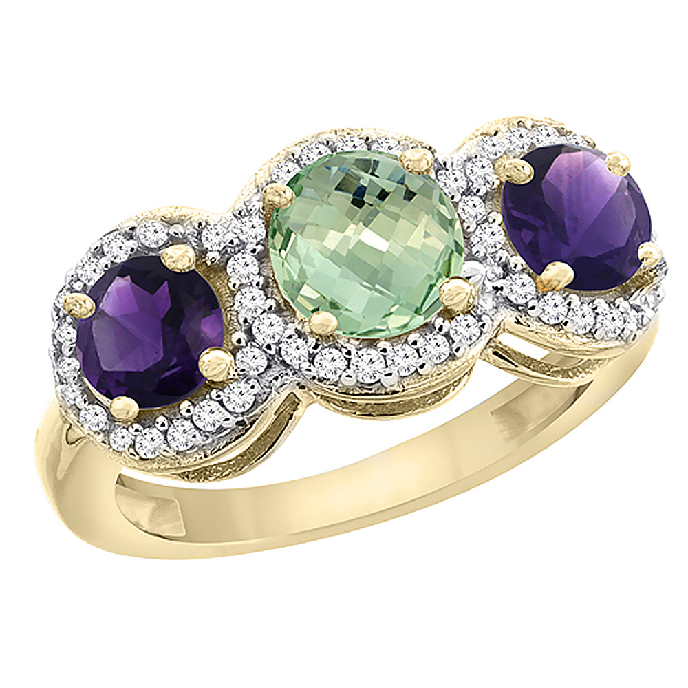 10K Yellow Gold Natural Green Amethyst & Amethyst Sides Round 3-stone Ring Diamond Accents, sizes 5 - 10