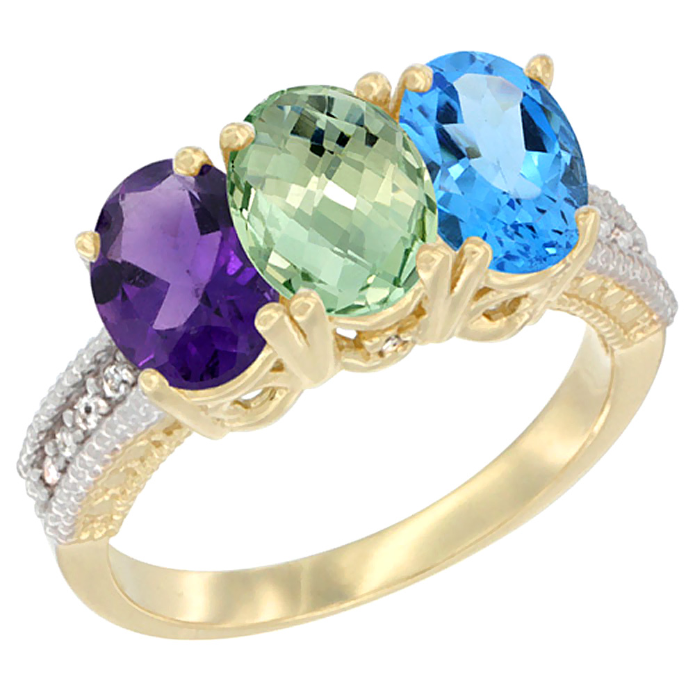 10K Yellow Gold Diamond Natural Purple & Green Amethysts & Swiss Blue Topaz Ring Oval 3-Stone 7x5 mm,sizes 5-10