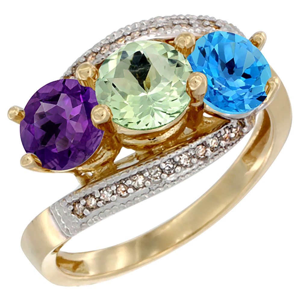 14K Yellow Gold Natural Amethyst, Green Amethyst & Swiss Blue Topaz 3 stone Ring Round 6mm Diamond Accent, sizes 5 - 10