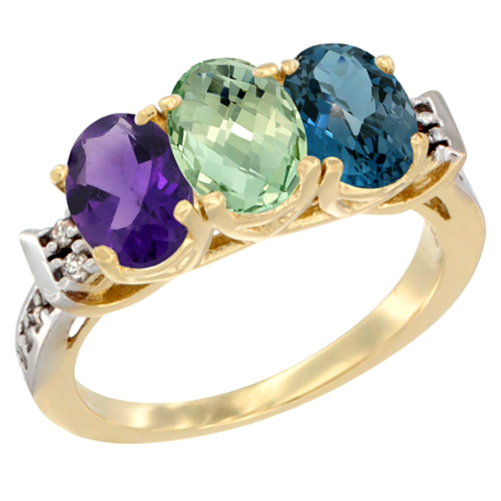 10K Yellow Gold Natural Amethyst, Green Amethyst & London Blue Topaz Ring 3-Stone Oval 7x5 mm Diamond Accent, sizes 5 - 10