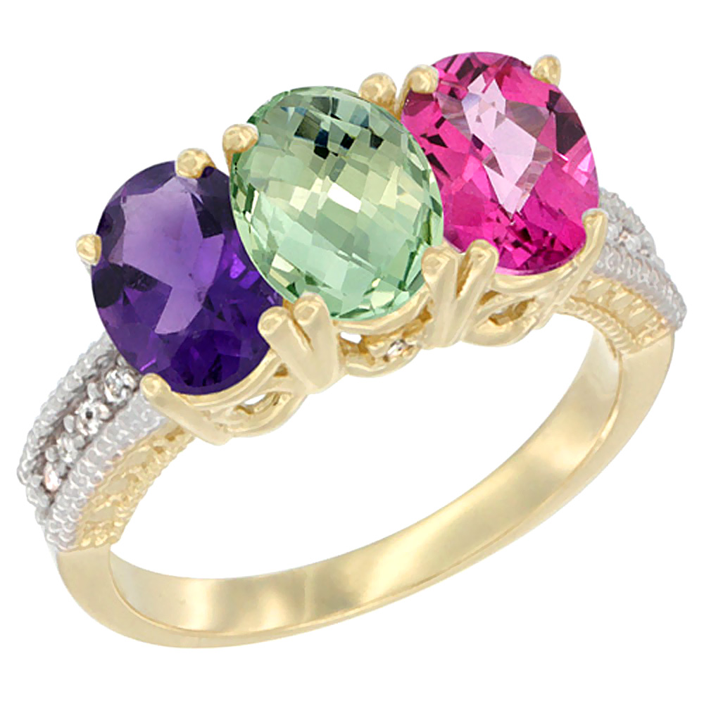 14K Yellow Gold Natural Amethyst, Green Amethyst & Pink Topaz Ring 3-Stone 7x5 mm Oval Diamond Accent, sizes 5 - 10