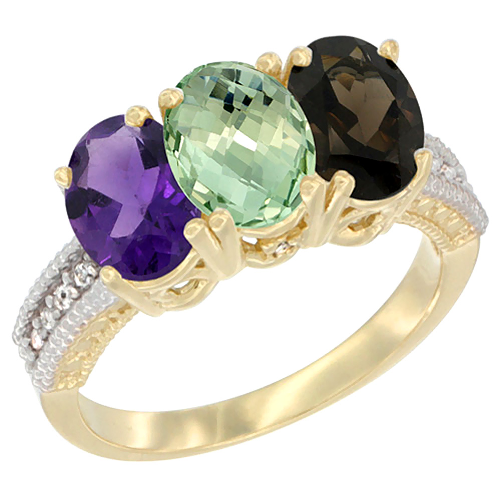 10K Yellow Gold Diamond Natural Purple & Green Amethysts & Smoky Topaz Ring Oval 3-Stone 7x5 mm,sizes 5-10