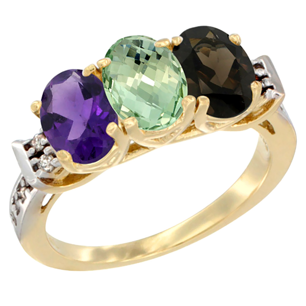 14K Yellow Gold Natural Amethyst, Green Amethyst & Smoky Topaz Ring 3-Stone 7x5 mm Oval Diamond Accent, sizes 5 - 10
