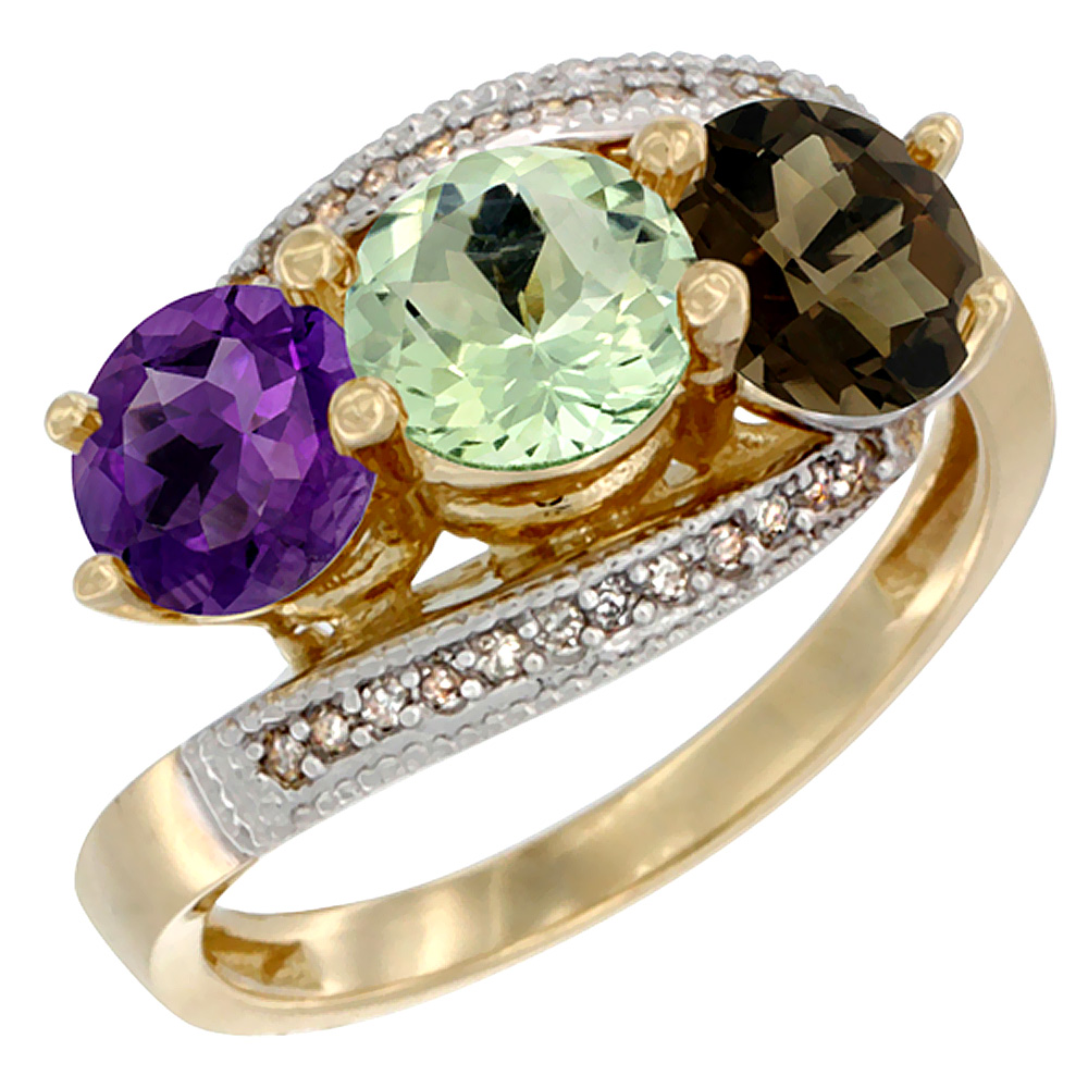 10K Yellow Gold Natural Amethyst, Green Amethyst & Smoky Topaz 3 stone Ring Round 6mm Diamond Accent, sizes 5 - 10